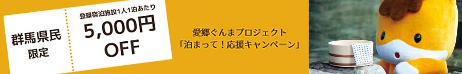 群馬県民限定登録宿泊施設1人1泊あたり5,000円OFF